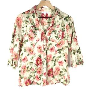 EDEN & Olivia Shirt Button Up Floral 3/4 Sleeve S